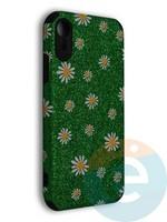 Накладка силиконовая с ромашками для Apple iPhone XR зеленая