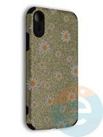 Накладка силиконовая с ромашками для Apple iPhone XR золотистая