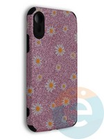 Накладка силиконовая с ромашками для Apple iPhone XR розовая