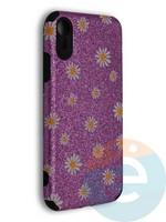 Накладка силиконовая с ромашками для Apple iPhone XR фиолетовая