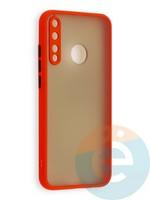 Накладка пластиковая с силиконовой окантовкой с защищенной камерой для Huawei P40 Lite E/Y7P/ Honor 9C красная