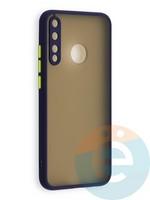 Накладка пластиковая с силиконовой окантовкой с защищенной камерой для Huawei P40 Lite E/Y7P/ Honor 9C синяя