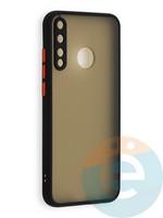 Накладка пластиковая матовая с силиконовой окантовкой с защищенной камерой для Huawei P40 Lite E/Y7P/ Honor 9C черная