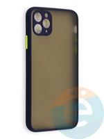 Накладка пластиковая с силиконовой окантовкой с защищенной камерой для iPhone 11 Pro Max синяя