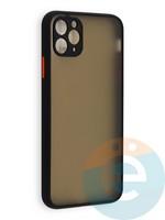 Накладка пластиковая с силиконовой окантовкой с защищенной камерой для iPhone 11 Pro Max черная