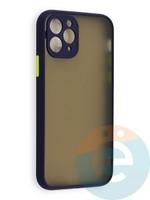Накладка пластиковая с силиконовой окантовкой с защищенной камерой для iPhone 11 Pro синяя