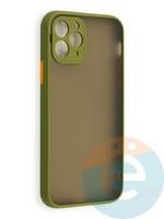 Накладка пластиковая матовая с силиконовой окантовкой с защищенной камерой для iPhone 11 Pro хаки