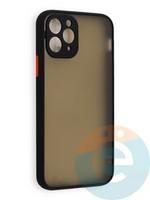 Накладка пластиковая с силиконовой окантовкой с защищенной камерой для iPhone 11 Pro черная