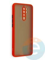 Накладка пластиковая матовая с силиконовой окантовкой с защищенной камерой для Xiaomi Redmi 9 красная