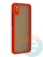 Накладка пластиковая матовая с силиконовой окантовкой с защищенной камерой для Xiaomi Redmi 9A красная
