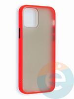 Накладка пластиковая матовая с силиконовой окантовкой для iPhone 12 6.1 красная