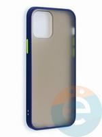 Накладка пластиковая матовая с силиконовой окантовкой для iPhone 12 6.1 синяя