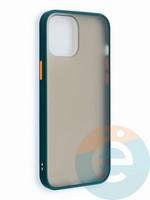 Накладка пластиковая матовая с силиконовой окантовкой для iPhone 12 6.7 зеленая