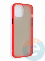 Накладка пластиковая матовая с силиконовой окантовкой для iPhone 12 6.7 красная