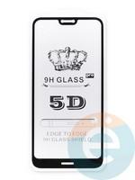 Защитное стекло 5D с полной проклейкой на Nokia 7.1 черное