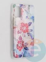 Накладка комбинированная Flowers с силиконовой окантовкой для Samsung Galaxy A41 вид10