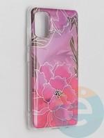 Накладка комбинированная Flowers с силиконовой окантовкой для Samsung Galaxy A41 вид5