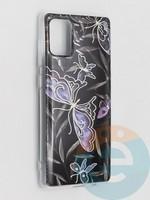 Накладка комбинированная Flowers с силиконовой окантовкой для Samsung Galaxy A71 вид8