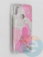 Накладка комбинированная Flowers с силиконовой окантовкой для Samsung Galaxy M11 вид1
