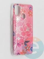 Накладка комбинированная Flowers с силиконовой окантовкой для Samsung Galaxy M21 вид2