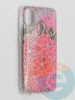 Накладка комбинированная Flowers с силиконовой окантовкой для Samsung Galaxy M21 вид4
