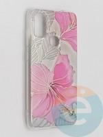 Накладка комбинированная Flowers с силиконовой окантовкой для Samsung Galaxy M51 вид1