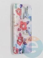 Накладка комбинированная Flowers с силиконовой окантовкой для Xiaomi Redmi 9 вид10