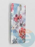 Накладка комбинированная Flowers с силиконовой окантовкой для Xiaomi Redmi 9 вид3