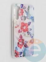 Накладка комбинированная Flowers с силиконовой окантовкой для Xiaomi Redmi Note 8T вид10