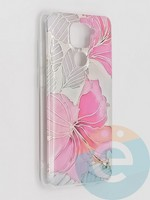 Накладка комбинированная Flowers с силиконовой окантовкой для Xiaomi Redmi Note 9 вид1