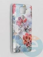 Накладка комбинированная Flowers с силиконовой окантовкой для Xiaomi Redmi Note 9 вид3