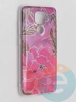 Накладка комбинированная Flowers с силиконовой окантовкой для Xiaomi Redmi Note 9 вид5