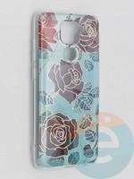 Накладка комбинированная Flowers с силиконовой окантовкой для Xiaomi Redmi Note 9 вид6