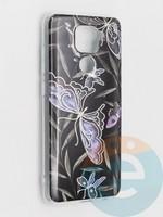 Накладка комбинированная Flowers с силиконовой окантовкой для Xiaomi Redmi Note 9 вид8