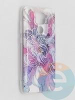 Накладка комбинированная Flowers с силиконовой окантовкой для Xiaomi Redmi Note 9 вид9