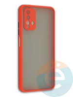 Накладка пластиковая матовая с силиконовой окантовкой с защищенной камерой для Xiaomi Redmi 9T красная