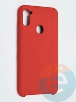 Накладка силиконовая Silicone Cover (без логотипа) для Samsung Galaxy A11 красная