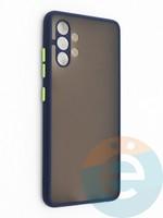 Накладка пластиковая с силиконовой окантовкой с защищенной камерой для Samsung Galaxy A32 синяя