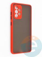 Накладка пластиковая с силиконовой окантовкой с защищенной камерой для Samsung Galaxy A52 красная