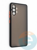 Накладка пластиковая с силиконовой окантовкой с защищенной камерой для Samsung Galaxy A32 черная
