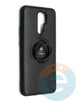 Накладка силиконовая iFace на Xiaomi Redmi 9 с металлической пластиной с кольцом