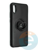 Накладка силиконовая iFace на Xiaomi Redmi 9A с металлической пластиной с кольцом