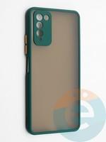 Накладка пластиковая с силиконовой окантовкой с защищенной камерой для Huawei Honor 10X Lite зеленая