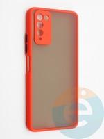 Накладка пластиковая с силиконовой окантовкой с защищенной камерой для Huawei Honor 10X Lite красная