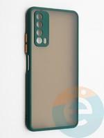 Накладка пластиковая с силиконовой окантовкой с защищенной камерой для Huawei P Smart 2021 зеленая