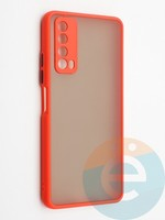 Накладка пластиковая с силиконовой окантовкой с защищенной камерой для Huawei P Smart 2021 красная