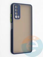 Накладка пластиковая с силиконовой окантовкой с защищенной камерой для Huawei P Smart 2021 синяя