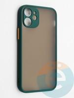 Накладка пластиковая с силиконовой окантовкой с защищенной камерой для iPhone 12 mini зеленая