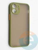 Накладка пластиковая с силиконовой окантовкой с защищенной камерой для iPhone 12 mini хаки