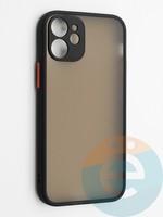 Накладка пластиковая с силиконовой окантовкой с защищенной камерой для iPhone 12 mini черная